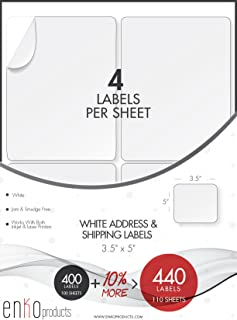 enKo - 3-1/2 x 5 Inch Label - White Blank - 4 Up Per Sheet Shipping Address Mailing Labels for Laser Inkjet Printer (110 Sheets, 440 Labels)