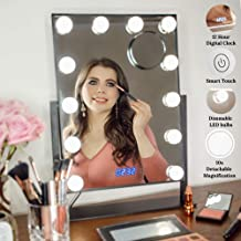 Estala Makeup Vanity Mirror with Lights - Hollywood Vanity Mirror & Lighted Makeup Table Set with Smart Touch Dimmable & Adjustable LED Lights & Digital Clock - Free eBook