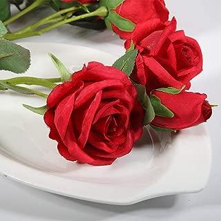 MARLLES Artificial Silk Red Rose Flowers Bouquet Prefect Brithady Home Wedding Centerpieces Arrangements Decor (Red)
