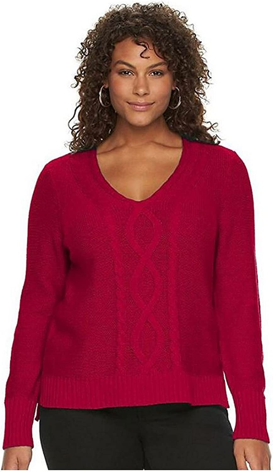 Chaps Women's Plus Size Cable-Knit V-Neck Long Sleeve Sweater