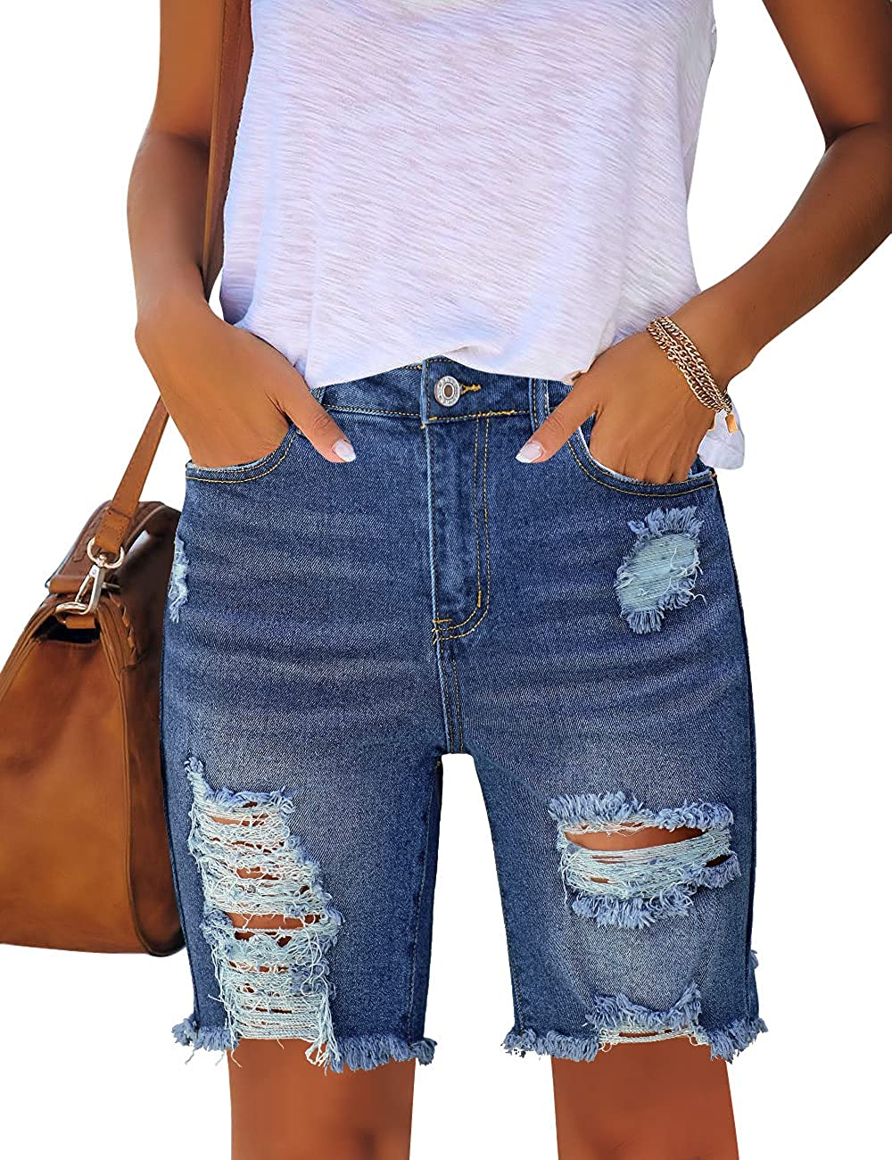 Utyful Women Summer Frayed Ripped Bermuda Shorts Distressed Denim Jeans Short