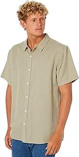 Swell Men's Manila Mens Ss Linen Shirt Short Sleeve Cotton Linen Green