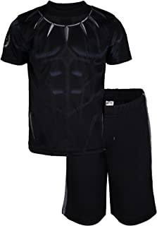 Avengers Black Panther Spiderman Hulk Boys' Athletic T-Shirt & Mesh Shorts Set
