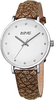 August Steiner Womens Quartz Watch, Analog Display and Leather Strap AS8258SS