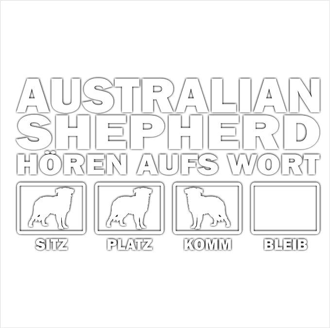 Siviwonder Auto Aufkleber Australian Shepherd Hunde Hören Aufs Wort Hundeaufkleber 30cm White Auto