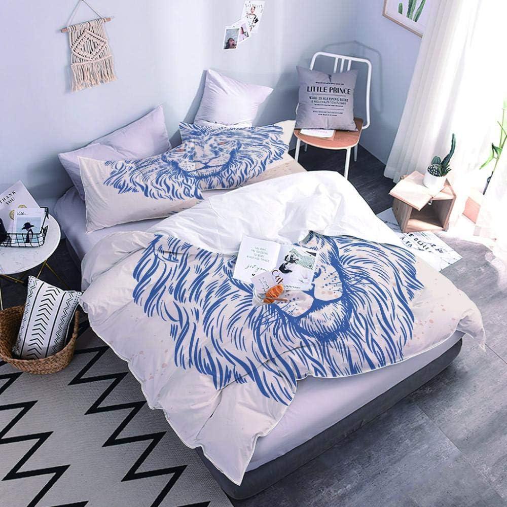 XSHTdecor Comforter Set Twin Size Blue Duvet Cover Animal Max 79% OFF Lion Outlet sale feature