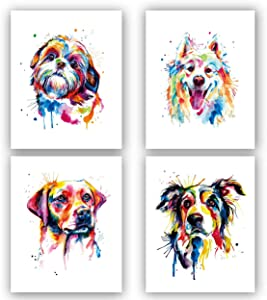 "Lovely Dog Canvas Wall Art,Pet Canvas Painting Puppy Artwork,Abstract Dog Art Print Colorful Shih Tzu Art Print - Labrador Retriever Art Print -Samoyed Watercolor Art Print - Colorful Border Collie Art Print-Watercolor Original Artwork Print For Bedroom, Bathroom Wall Art Decor Set of 4 (8""X10"" , No Frame"