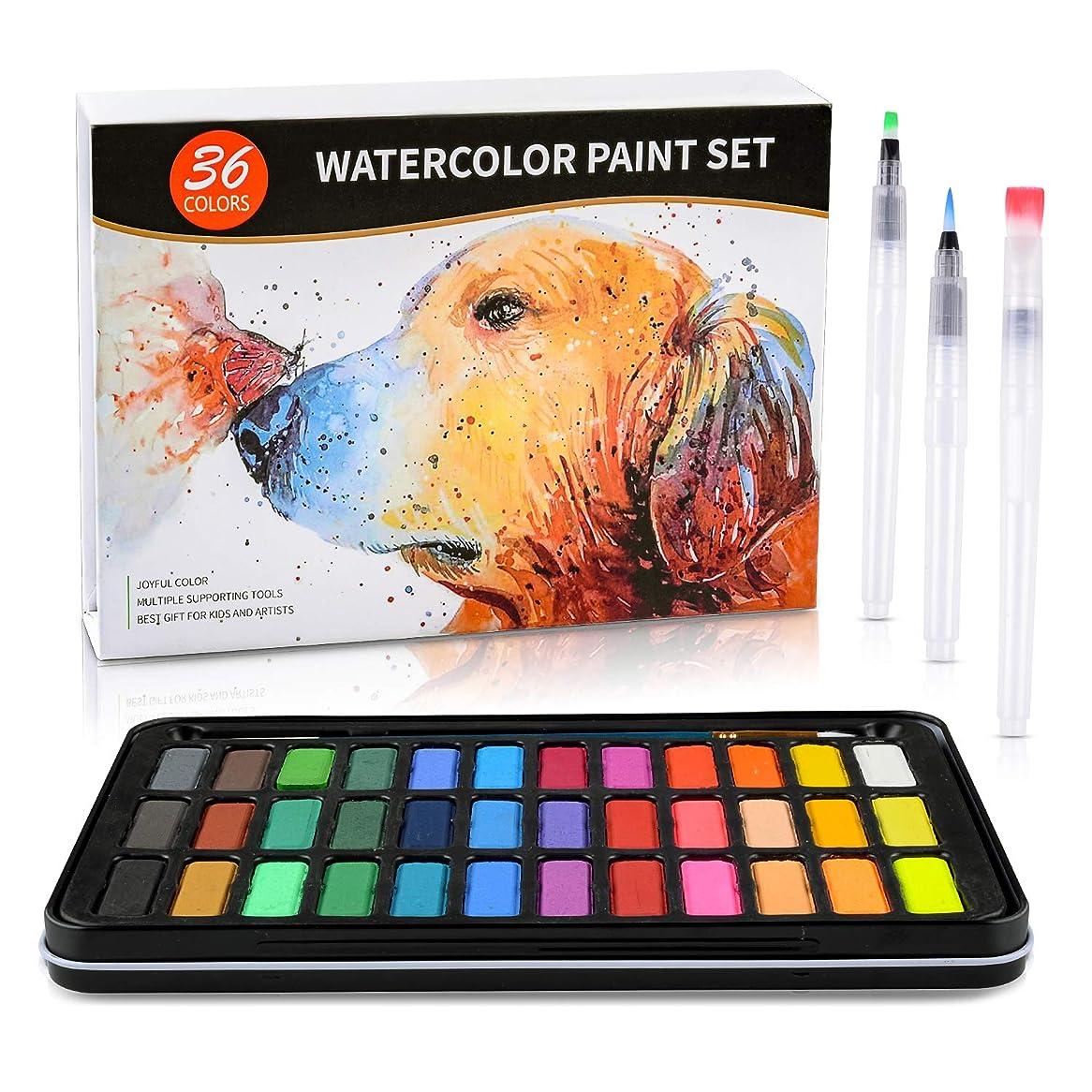 水彩絵の具セット - 36色の楽しい色の軽量メタルケース入り - 細かな絵筆1本 - 水筆3本 - 300Gの水彩画用紙8本 子供やアート愛好家に最適なギフトボックス入り