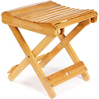 "ETECHMART 12"" Folding Bamboo Step Stool for Shower, Leg Shaving and Foot Rest, Fully Assembled Wooden Spa Bath Chair for Adults Kids Disabled Women Elderly"
