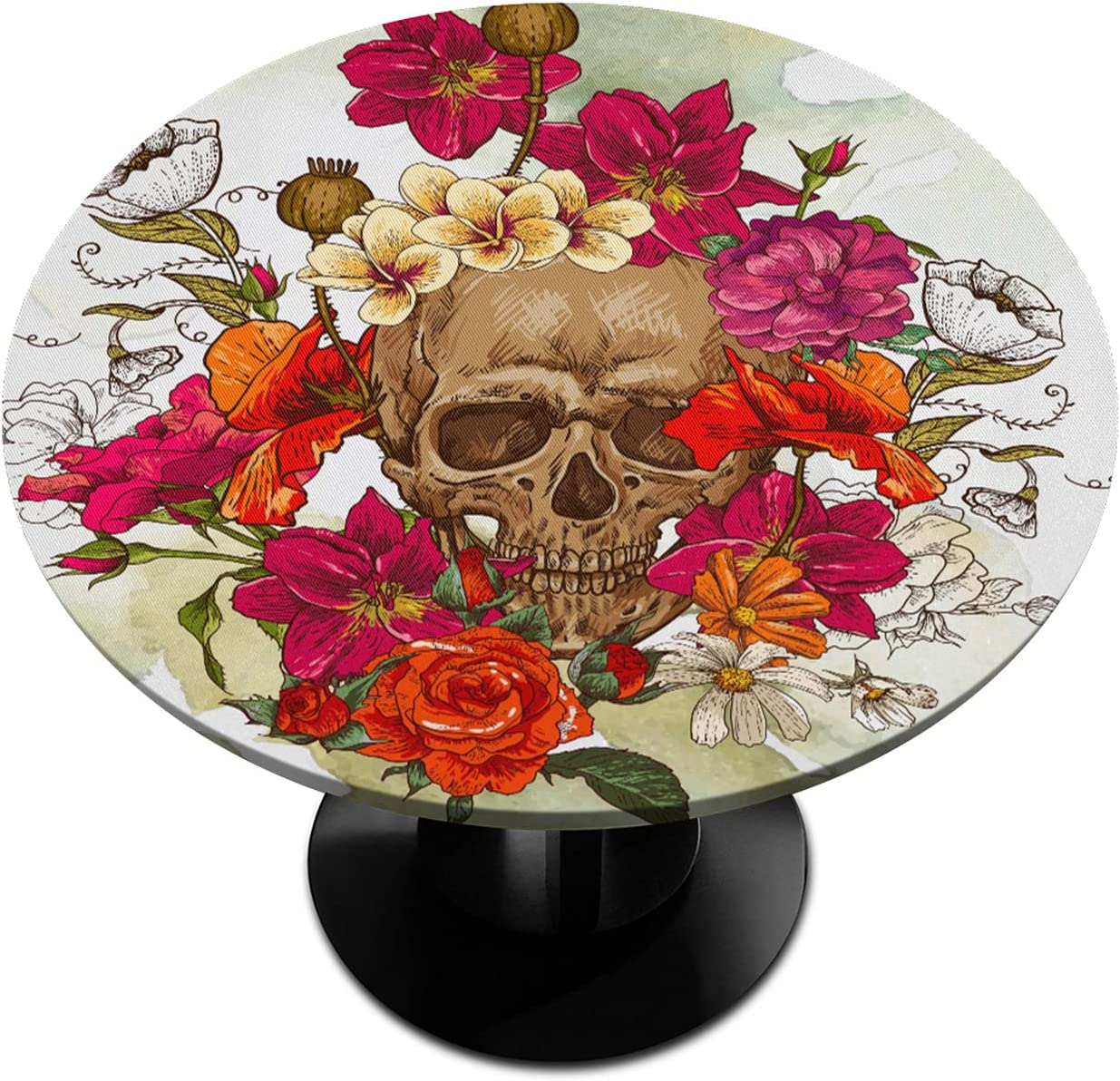 Round Fitted Tablecloth with Elastic Vintage Max 58% OFF F Edged Skull Superlatite Rose