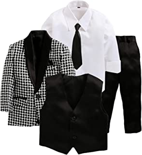 Jeet Creation Boys Black Coat Suit with Waistcoat, Shirt, Tie and Trouser Set (9062RH)
