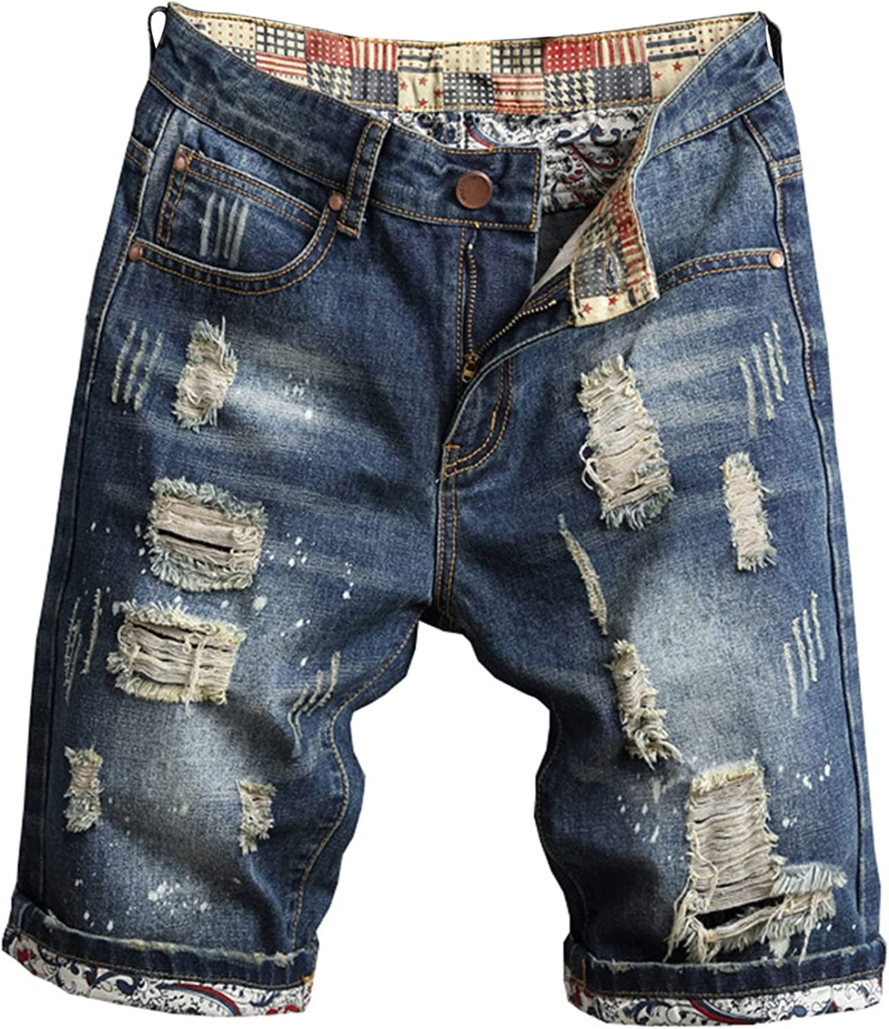 Men's Ripped Distressed Shorts Straight Fit Casual Holes Denim Short Retro Fashion Loose Mid Waist Jeans Short