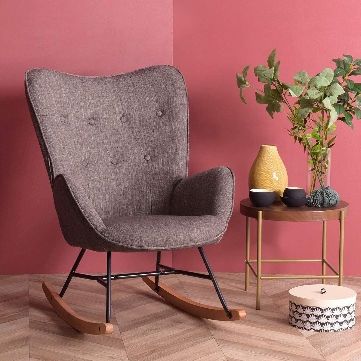Mecedora con diseño muy cómodo con respaldo alto y reposabrazos, moderna silla de salón para dormitorio, color gris