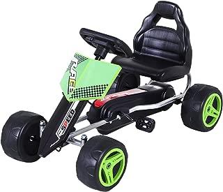 Aosom Kids Go Kart, 4 Wheeled Ride On Pedal Car, Racer for Boys and Girls for Outdoor - Green