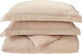 600 Thread Count 100% Premium Long-Staple Combed Cotton, Full/Queen Duvet Cover Set, Embroidery Greek Key Border, Beige
