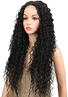 Joedir Lace Front Wigs Ombre Blonde 28`` Long Small Curly Wavy Synthetic Wigs For Black Women 130% Density Wigs (natural black)