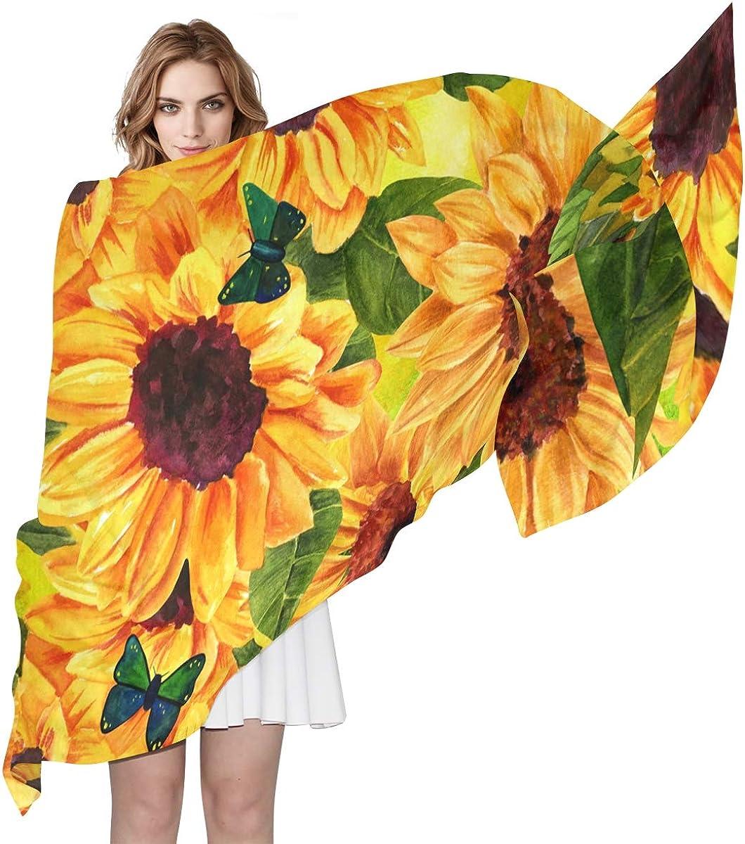 XLING Fashion Scarf Floral Flower Sunflower Butterfly Long Lightweight Sunscreen Scarf Shawl Wrap Muffler Neckerchief for Women Men