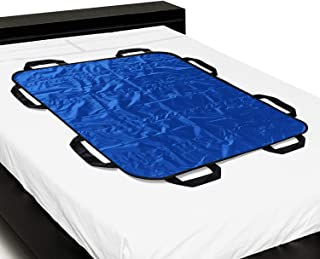 """Multipurpose 48"""" x 40"""" Positioning Bed Pad with Reinforced Handles by ZHEEYI - Reusable & Washable Patient Sheet for Turning, Lifting & Repositioning - Double-Sided Nylon Fabric, Blue"""