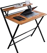 JIWU 2-Style Folding Desk for Small Space, No Assembly Required, Home Corner Desks Simple Computer Desk with Shelf, Fold-a...