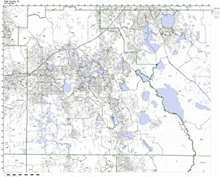 Polk County, Florida FL ZIP Code Map Not Laminated