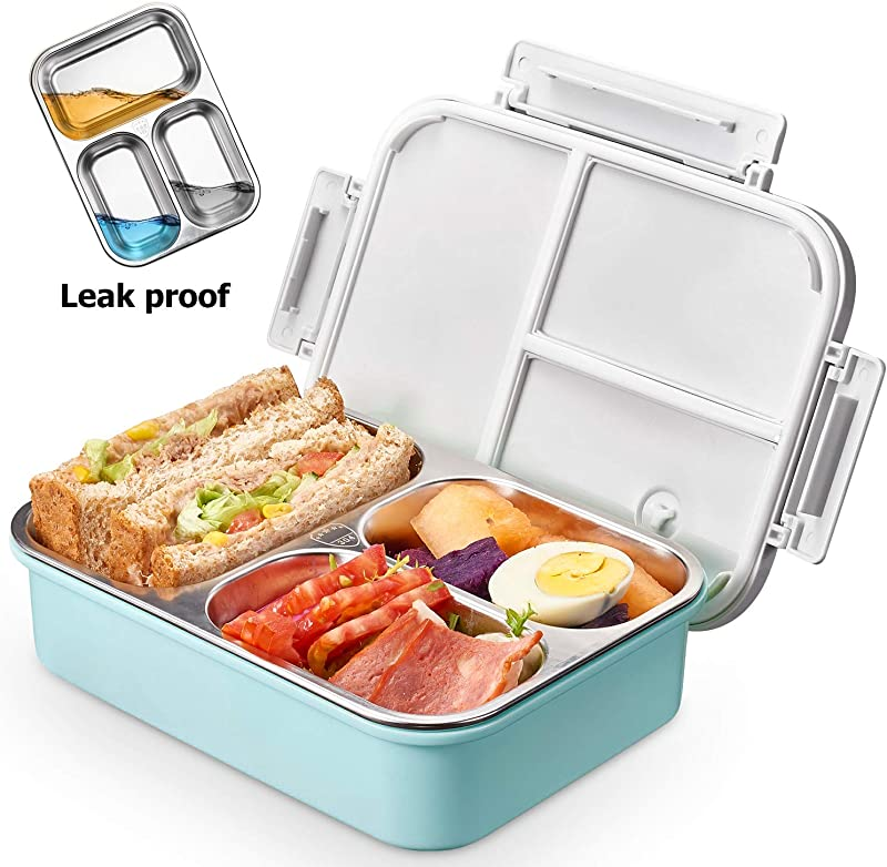 Kids Stainless Steel Lunch Box 2019 Upgraded Leak Proof 3 Compartment Bento Style Food Containers Ideal Portion Sizes For Ages 4 To 15 BPA Free And Food Safe Materials