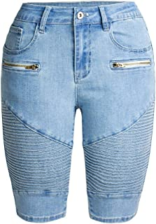 neveraway Women Body Enhancing Comfort Highwaist Denim Straight Short Pants