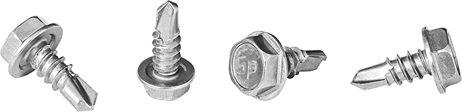 #10 x 1/2'' Hex Washer Head Self-Drilling Tek Screw Zinc Plated Steel for Attaches Sheet Metal Steel Or Steel to Metal - Box of 100