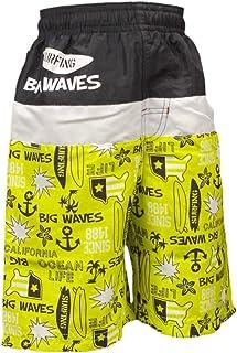 ピアニッシモ ボーイズキッズ 水着 男の子キッズサーフパンツ 海パン スイムパンツ ロゴ イカリ サーフボード柄 海水パンツ 水着 子供 イエロー 110cm 120cm 130cm