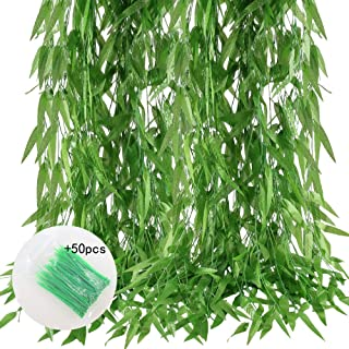 MHMJON Artificial Vines, 50 Pcs 375 Feet Fake Silk Willow Jungle Leaves Greenery Garlands with 50 Green Nylon Cable Ties for Home Kitchen Wall Fence Wedding Vine Decoration Indoor Outdoor