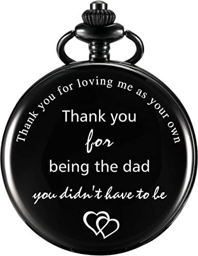 Dad Gift Pocket Watch for Father in Law, Stepdad Thank You for Loving Me As Your Own Quartz Pocket Watch for Father's...