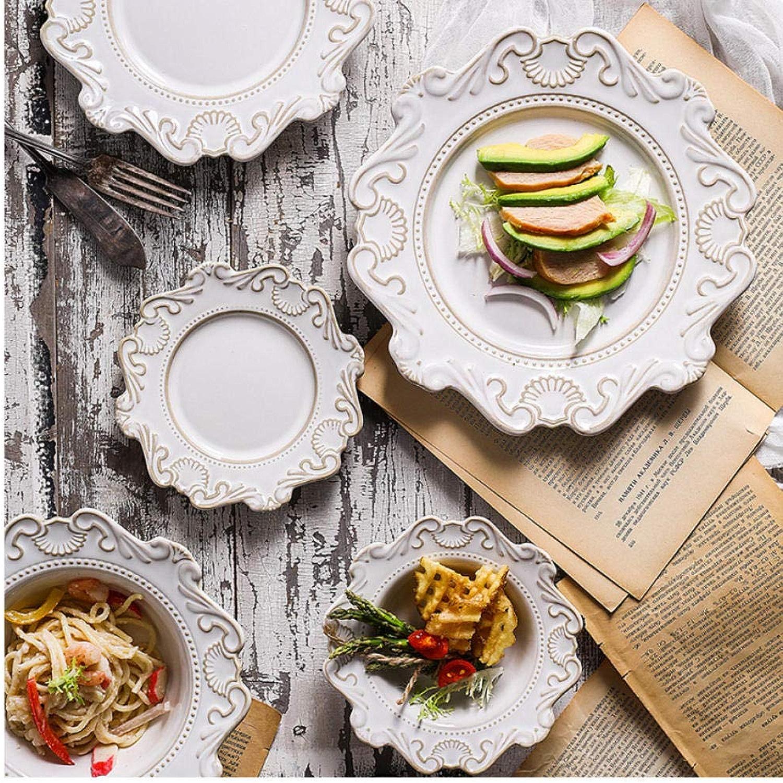 Dwthh 1set reliefs baroques céramique Profonde Assiette Creuse Occidentale Salade Plats pastal Occidentale Nourriture Vaisselle Assiettes de Chapeau Bleu et Blanc