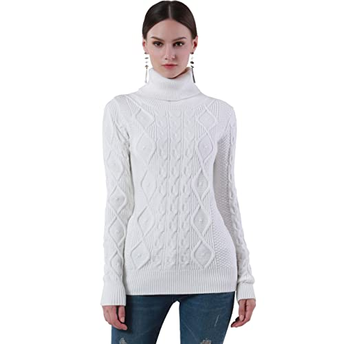 2b0d91e5611dd PrettyGuide Women s Turtleneck Sweater Long Sleeve Cable Knit Sweater  Pullover Tops