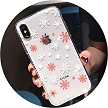 Snowflake & Tree Christmas Transparent Phone Case for iPhone X Xs Xr Xs Max 8 7 6 6S Plus Soft TPU Cute Back Cover Winter Gift,T2,for iPhone 8