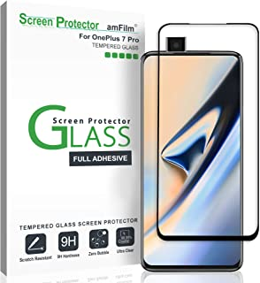 amFilm Screen Protector Glass for OnePlus 7 Pro (2019), Full Cover (3D Curved) Tempered Glass Screen Protector Film with Easy Installation Tray for OnePlus 7 Pro (Black)
