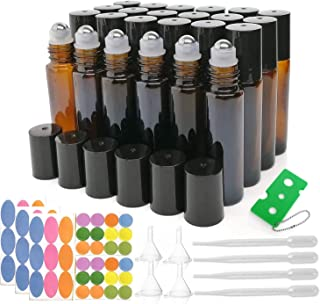 Glass Roller Bottles, 24 Pack, 10 ml Amber Glass Roll On Bottle for Essential Oils with Stainless Steel Roller Balls (50 Labels, 4 Droppers, 4 Funnels, 1 Opener Included)