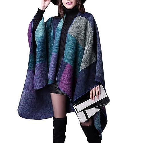 Eclissy Women/'s Light Soft Plaid Blanket Scarf with Fringe Trims|Large Tartan Black-Beige Poncho Winter Checked Wrap Shawl