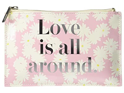 Kate Spade New York Love Is All Around Pencil Pouch (Pink) Wallet