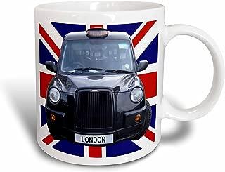 3dRose mug_113050_1 London Black Taxi Cab on British Flag Union Jack Background UK Great Britain United Kingdom Travel Ceramic Mug, 11 oz, White