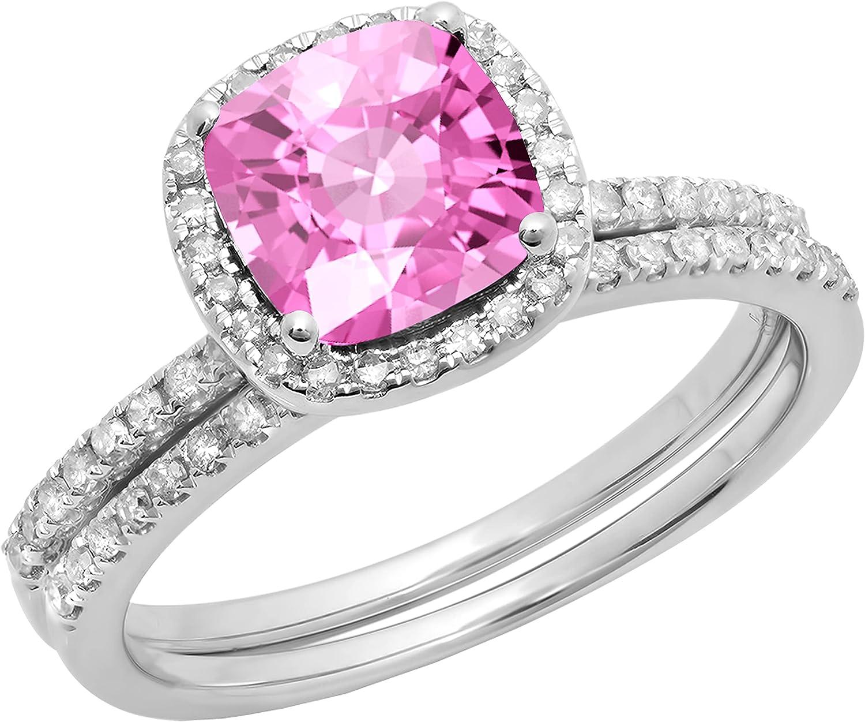 Dazzlingrock Collection 10K 7 MM Cushion Lab Created Gemstone & Round White Diamond Halo Wedding Ring Set, White Gold