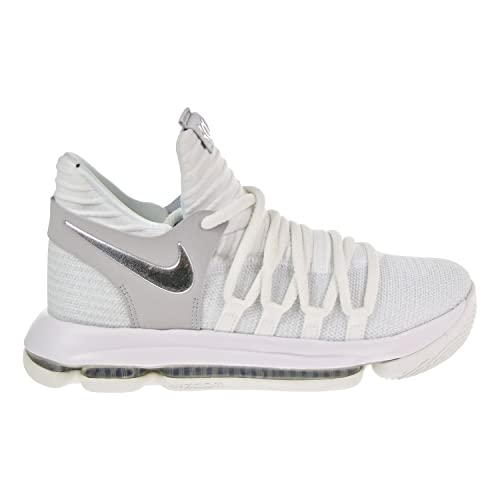 Nike Zoom KD10 GS Youth Basketball Sneakers (5y) White/Chrome-Pure Platinum