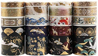 Dizdkizd 20 Rolls Washi Tape Set, Ancient Art Decor Masking Tapes with 8mm/15mm/30mm, Ancient Brocade & Embroidery Style C...
