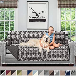 Sofa Shield Original Patent Pending Reversible Sofa Slipcover, 2 Inch Strap Hook, Seat Width Up to 70 Inch Furniture Protector, Couch Slip Cover Throw for Pets, Kids, Cats, Sofa, Diamond Charcoal