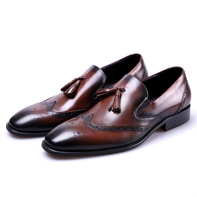 [F.shion] 革靴 スリッポン ビジネスシューズ メンズ ウイングチップ 本革 フリンジ ローファー タッセル 紳士靴 BJSZ09