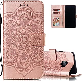 LEECOCO for Samsung S9 Case Mandala Embossing Luxury PU Leather Flip Notebook Wallet Bookstyle Magnetic Stand Card Slot Folio Bumper Protection Cover for Samsung Galaxy S9 Mandala Rose Gold LD