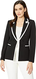 Tahari by ASL Women's Framed Faux Double Breasted Crepe Jacket
