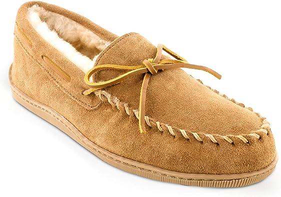 Minnetonka Men's Sheepskin Hardsole Moccasin Slippers