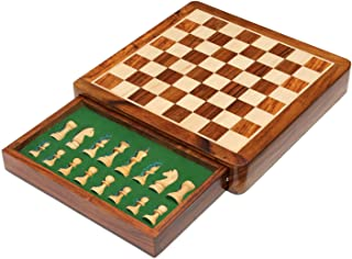 Wooden Magnetic Chess Set with Storage Drawer | Travel Chess Board Game Set with Chessmen Drawer (Flat 12x12 Inch)