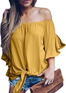 f0d28d65e32 Asvivid Women's Striped Off Shoulder Bell Sleeve Shirt Tie Knot Casual Blouses  Tops