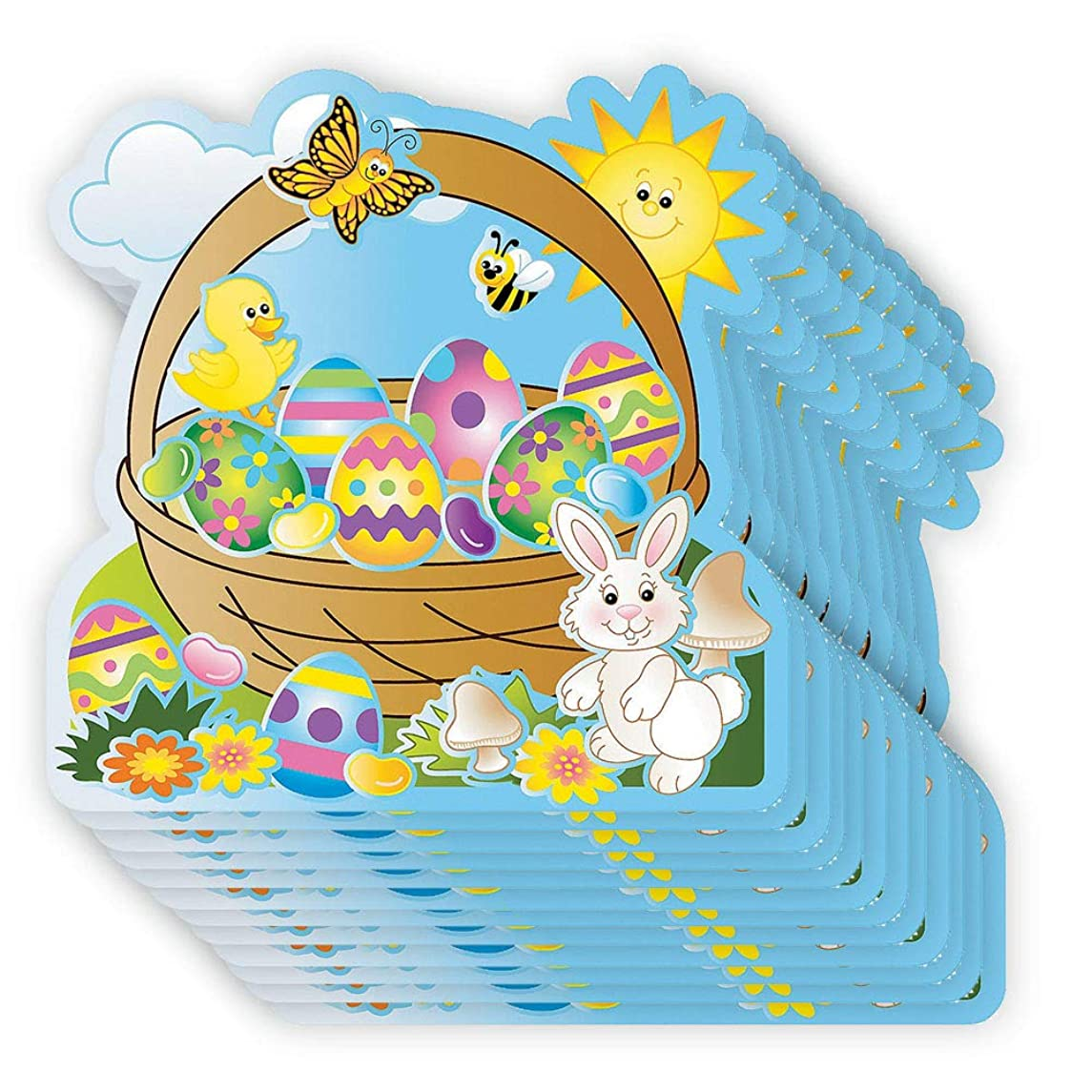 Make Your Own Sticker - Pack of 12 Egg-Cellent Make-An-Easter-Basket Sticker Scenes - Perfect for Stress Reliever, Educational Game, Sensory and Tactile Stimulation, DIY, and Event Favor
