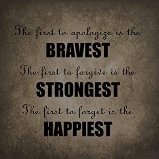 Jesiceny New Tin Sign The First to Apologize is The Bravest Th? Funny Family Novelty; Aluminum Metal Road Sign Wall Decoration 8x12 INCH